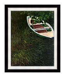 Claude Monet The Empty Boat canvas with modern black frame