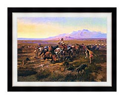 Charles Russell Returning To Camp canvas with modern black frame