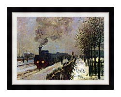 Claude Monet The Locomotive In Snow canvas with modern black frame