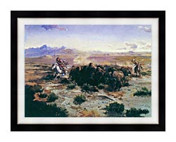 Charles Russell The Buffalo Hunt canvas with modern black frame