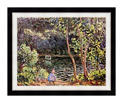Claude Monet Studio Boat On The Seine River canvas with modern black frame