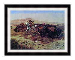 Charles Russell The Buffalo Hunt Wild Meat For Wild Men canvas with modern black frame