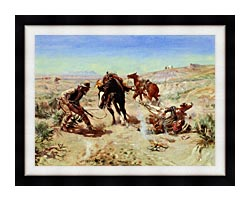 Charles Russell The Cinch Ring canvas with modern black frame