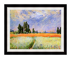 Claude Monet The Wheat Field canvas with modern black frame