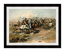 Charles Russell The Custer Fight canvas with modern black frame