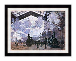 Claude Monet View Of The Normandy Train Line canvas with modern black frame