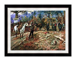 Charles Russell The Hold Up canvas with modern black frame