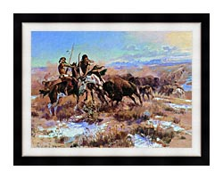 Charles Russell The Wounded Buffalo canvas with modern black frame