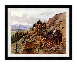 Charles Russell Trouble On The Horizon canvas with modern black frame