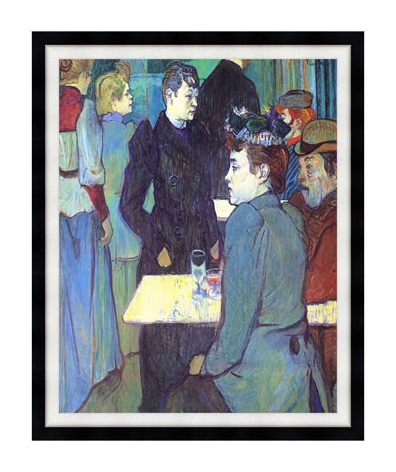 Henri de Toulouse Lautrec A Corner of the Moulin de la Galette with Modern Black Frame