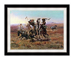 Charles Russell When Blackfeet And Sioux Meet canvas with modern black frame