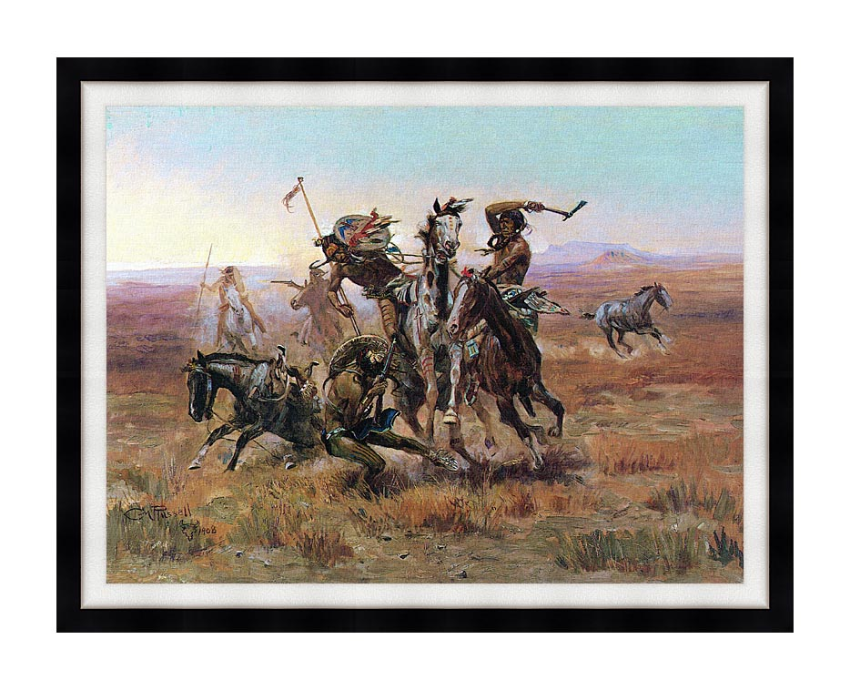 Charles Russell When Blackfeet and Sioux Meet with Modern Black Frame