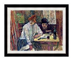 Henri De Toulouse Lautrec A La Mie canvas with modern black frame