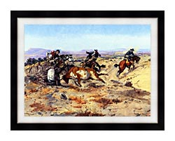 Charles Russell When Cowboys Get In Trouble canvas with modern black frame