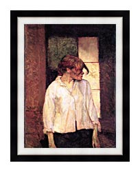 Henri De Toulouse Lautrec A Montrouge   Rosa La Rouge canvas with modern black frame