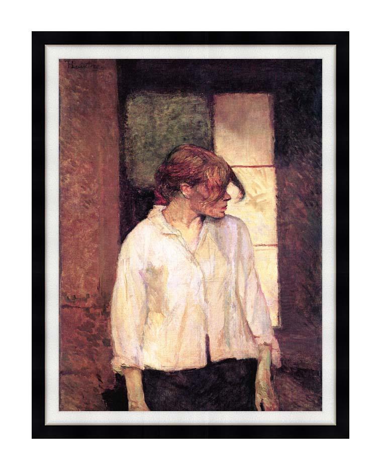 Henri de Toulouse Lautrec A Montrouge - Rosa La Rouge with Modern Black Frame