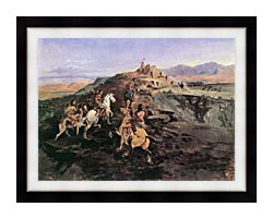 Charles Russell Buffalo Hunt canvas with modern black frame