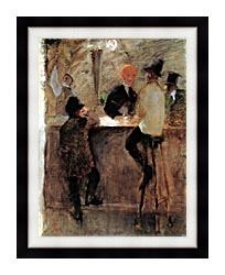 Henri De Toulouse Lautrec At The Bar canvas with modern black frame