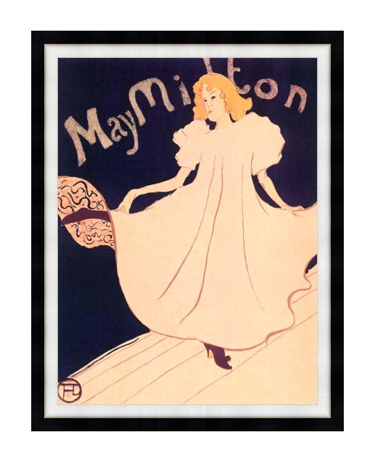 Henri de Toulouse Lautrec May Milton with Modern Black Frame