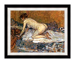Henri De Toulouse Lautrec Crouching Woman With Red Hair canvas with modern black frame