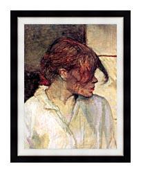 Henri De Toulouse Lautrec Rosa La Rouge Detail canvas with modern black frame