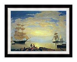 Fitz Hugh Lane Gloucester Harbor At Sunrise canvas with modern black frame