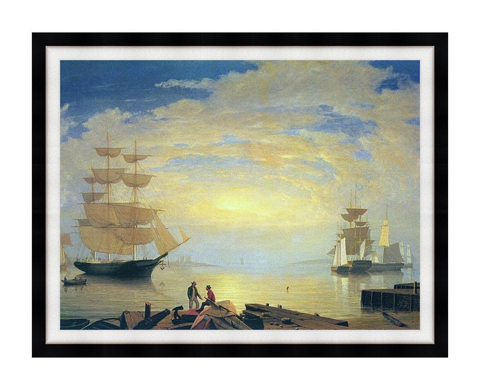 Fitz Hugh Lane Gloucester Harbor At Sunrise with Modern Black Frame