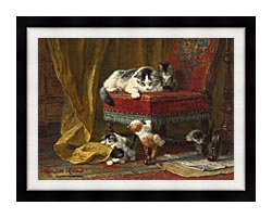 Henriette Ronner Knip Mothers Pride canvas with modern black frame