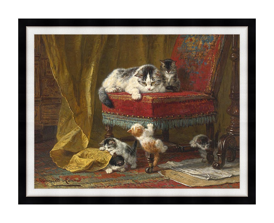Henriette Ronner Knip Mother's Pride with Modern Black Frame