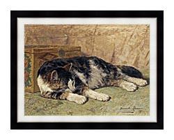 Henriette Ronner Knip Cat Nap canvas with modern black frame