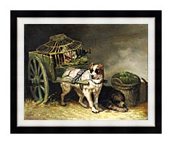 Henriette Ronner Knip Pair Of Hunting Dogs canvas with modern black frame