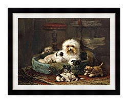 Henriette Ronner Knip Playful Puppies canvas with modern black frame