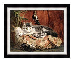 Henriette Ronner Knip Playtime canvas with modern black frame