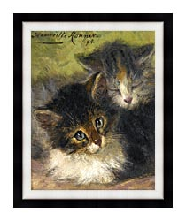 Henriette Ronner Knip Painting Of Two Kittens canvas with modern black frame