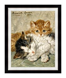Henriette Ronner Knip Sleepy Kittens canvas with modern black frame