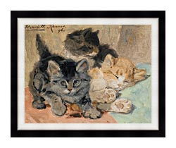 Henriette Ronner Knip Three Kittens canvas with modern black frame