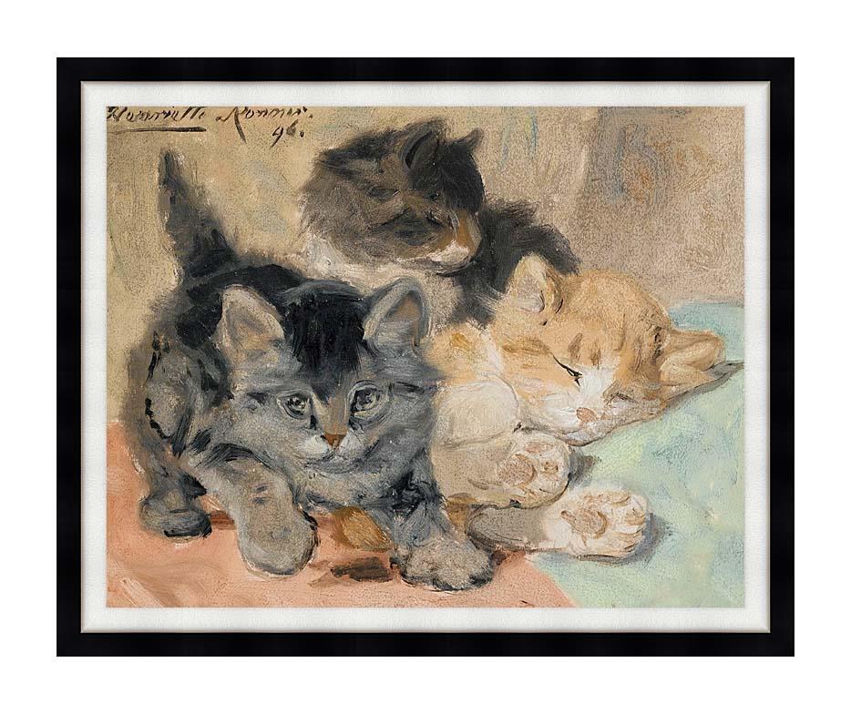 Henriette Ronner Knip Three Kittens with Modern Black Frame