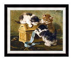 Henriette Ronner Knip Three Kittens With A Casket And Blue Ribbon canvas with modern black frame