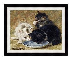 Henriette Ronner Knip Three Kittens Dinnertime canvas with modern black frame