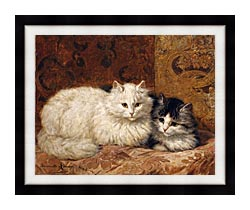 Henriette Ronner Knip Two Cats On A Cushion canvas with modern black frame