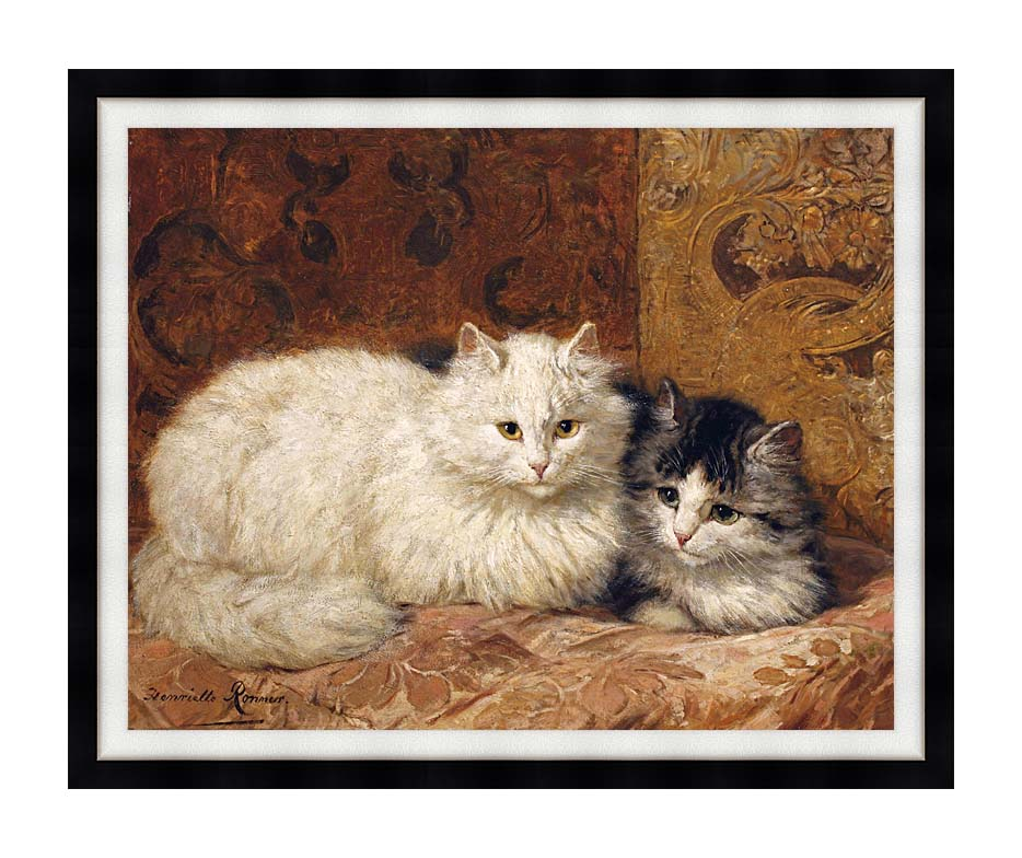 Henriette Ronner Knip Two Cats on a Cushion with Modern Black Frame