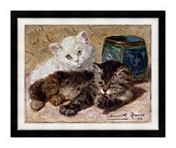 Henriette Ronner Knip Two Cute Kittens canvas with modern black frame