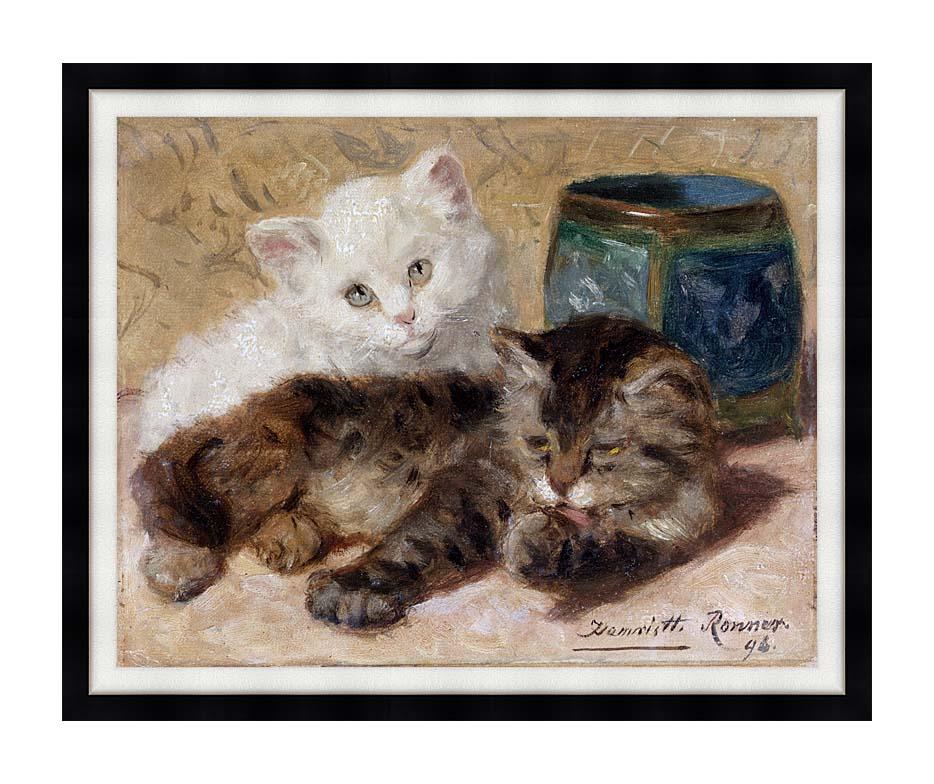 Henriette Ronner Knip Two Cute Kittens with Modern Black Frame