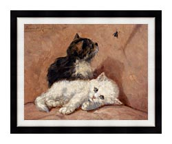 Henriette Ronner Knip Two Kittens canvas with modern black frame
