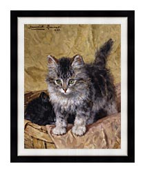 Henriette Ronner Knip Two Kittens In A Basket canvas with modern black frame