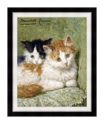 Henriette Ronner Knip Two Kittens Sitting On A Cushion canvas with modern black frame