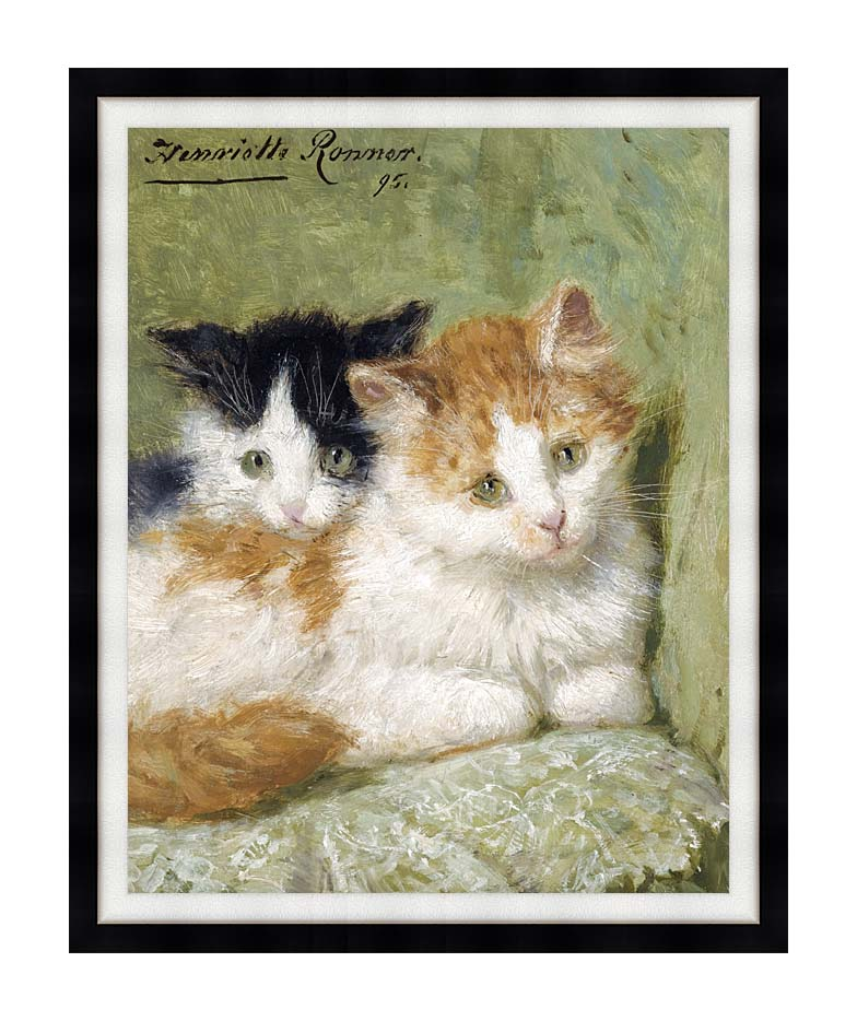 Henriette Ronner Knip Two Kittens Sitting on a Cushion with Modern Black Frame