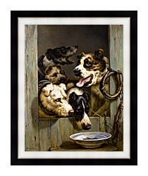 Henriette Ronner Knip Waiting For A Meal canvas with modern black frame