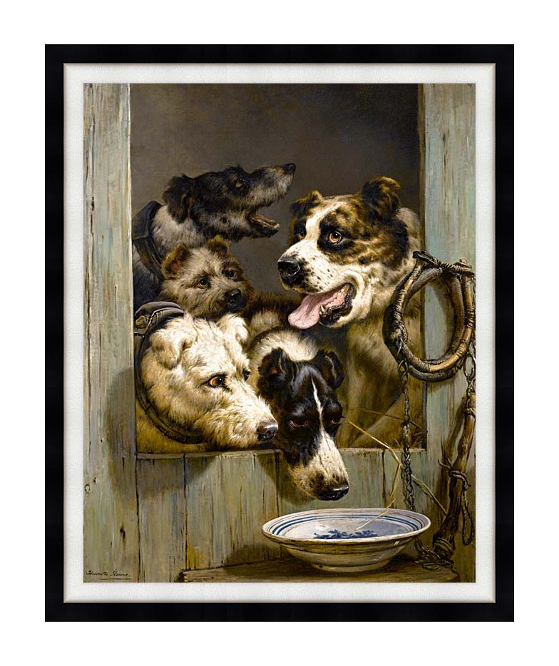 Henriette Ronner Knip Waiting for a Meal with Modern Black Frame