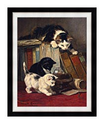 Henriette Ronner Knip Watching The Prey canvas with modern black frame
